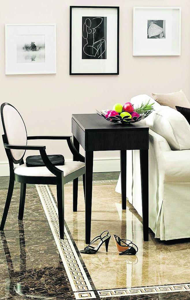 Taka podłoga świetnie pasuje do stylizowanych mebli