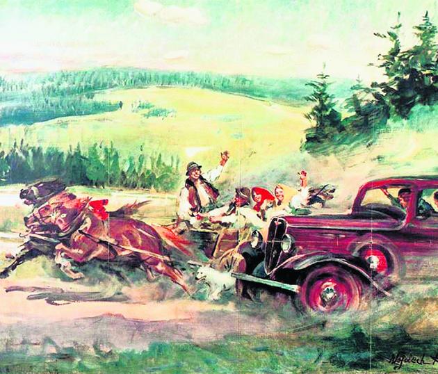 Słynny plakat reklamujący produkcję Fiata 508 namalował Wojciech Kossak. Pierwsze auto zjechało z taśmy w 1932 roku