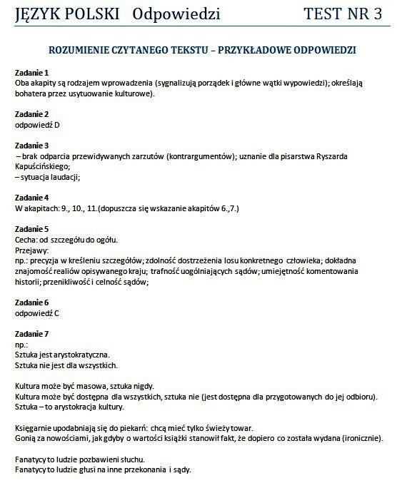 Matura 2012: Testy z języka polskiego - rozwiązania