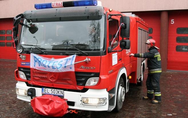Protest strażaków: zawyły syreny [ZDJĘCIA]