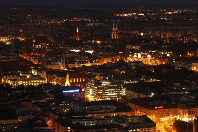 miasto nocą Wrocław