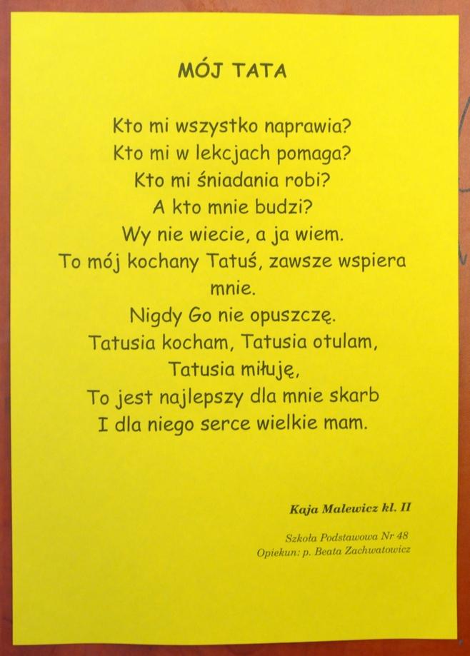 Dzieciaki Z Sp Nr 44 W Lublinie Piszą Wiersze Dla Taty