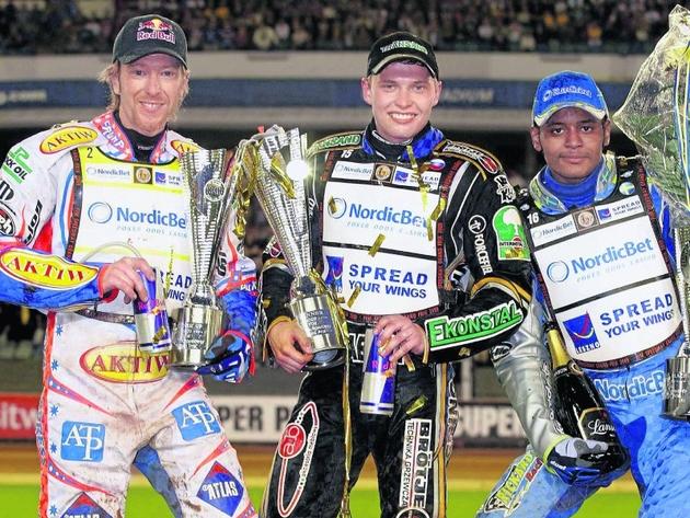 Podium GP Szwecji. Od lewej: Jason Crump, Emil Sajfutdinow i Antonio Lindbaeck