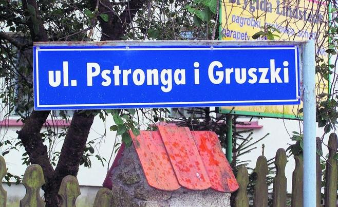 Tabliczka na ulicy Pstronga i Gruszki