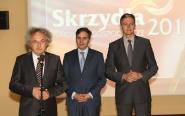 Członkowie Wielkiej Kapituły Skrzydeł: Andrzej Mochoń, Stanisław Wróbel  i patron konkursu marszałek województwa świętokrzyskiego Adam Jarubas.