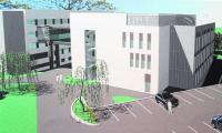 Tak będzie wyglądał szpital i poradnie Samodzielnego Publicznego Zakładu Opieki Zdrowotnej MSW po rozbudowie. Nowy i stary budynek będą połączone łącznikiem.