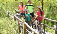 Kadr ze spotu reklamowego Green Velo, na terenie Arboretum w Bolestraszycach. Na zdjęciu między innymi polska top modelka Agnieszka Makuch, która zagrała matkę rowerowej rodzinki