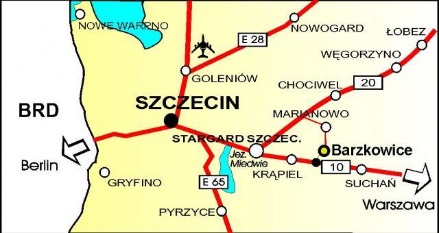 Dojazd do Barzkowic.