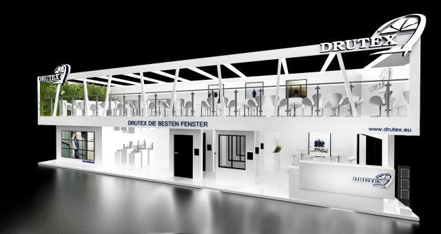 Wizualizacja stoiska firmy Drutex na targach Fensterbau Frontale w Norymberdze. Spółka przedstawia tam swoje najnowsze, energooszczędne rozwiązania w zakresie stolarki PVC.
