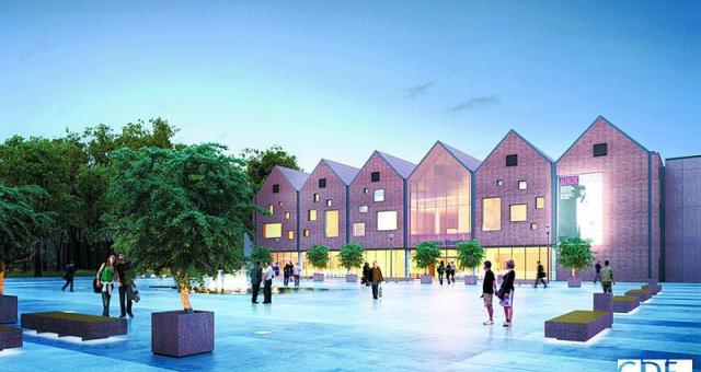 Tak będzie wyglądał budynek kina Planet Cinema na terenie kompleksu Brama Mazur. Od galerii handlowej oddzielał go będzie miejski plac z fontanną.