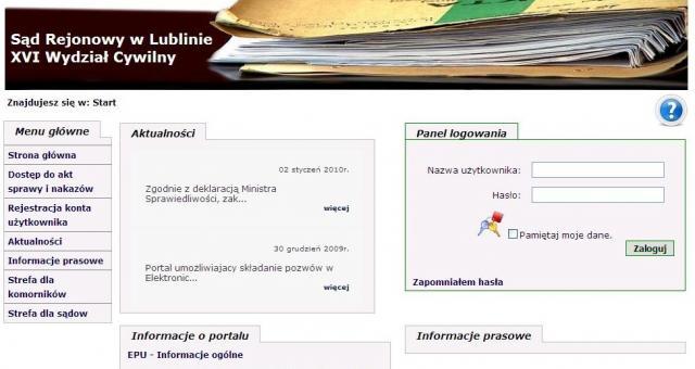 Aby złożyć pozew musimy założyć konto na stronie www.e-sad.gov.pl