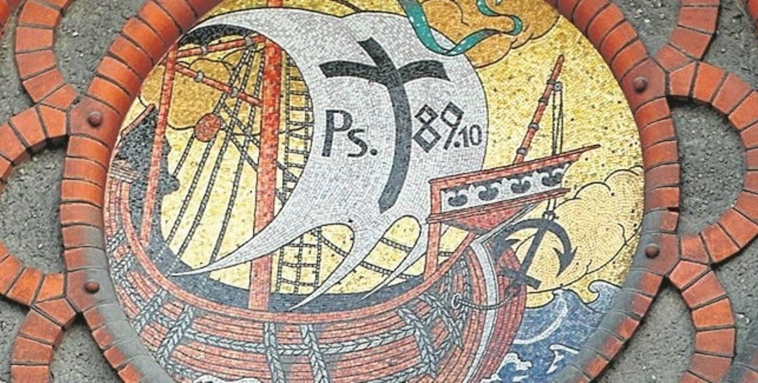 Mozaika nad wejściem do kościoła oo. jezuitów przy pl. Kościeleckich, pierwotnie ewangelickiej fary miejskiej.