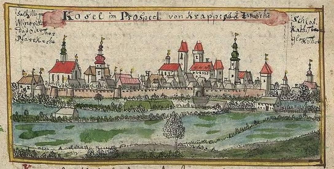 Widok miasta Koźle w I poł. XVIII w. - rysunek Wernhera