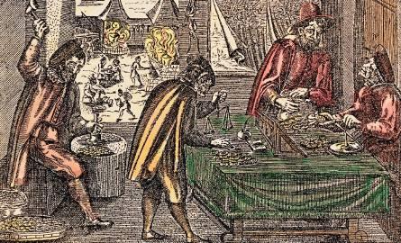 """W średniowieczu do większości transakcji niezbędna była zawsze waga. Kwoty podawano w """"idealnych"""" jednostkach rozrachunkowych, np."""