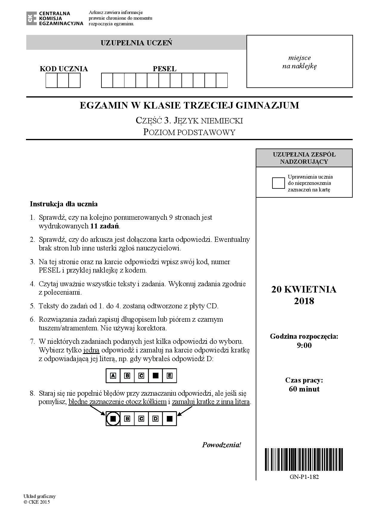 Egzamin Gimnazjalny 2018 Język Niemiecki Podstawa Odpowiedzi