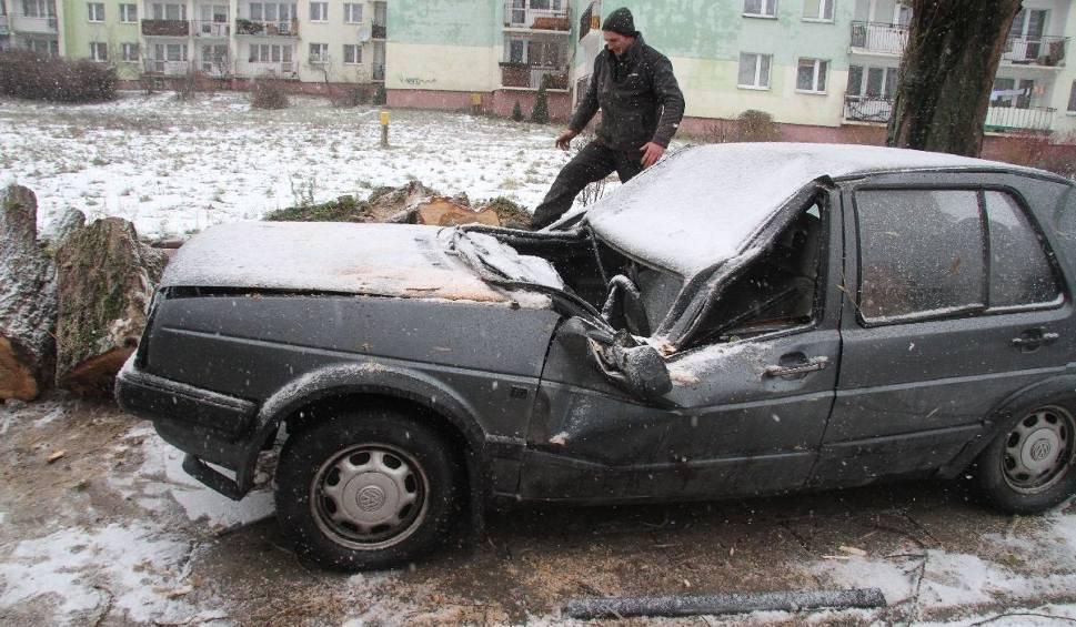 Film do artykułu: Porywisty wiatr w Kielcach. Drzewo spadło na auto