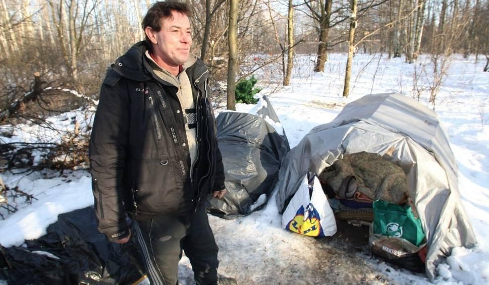 Film do artykułu: Bezdomny mieszka w kieleckim lesie. Przetrwał nawet największe mrozy