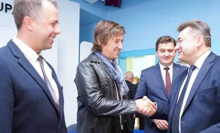 Jarosław Ruda i Jarosław Jasita uhonorowani przez wiceministra energii Grzegorza Tobiszowskiego i prezesa zarządu PGG Tomasza Rogalę