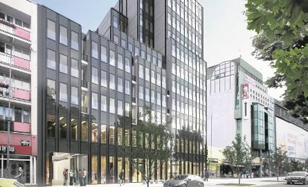 """Wizualizacja zabudowy nieruchomości po Barze Extra. Budynek ma mieć w najwyższym miejscu (tzw. wieża) 11 kondygnacji, a pozostałe """"schodki"""" mają być"""