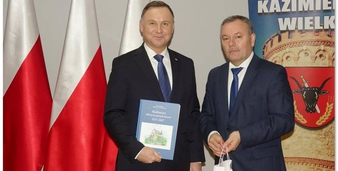 Burmistrz Miasta i Gminy Skalbmierz Marek Juszczyk na spotkaniu z prezydentem RP Andrzejem Dudą.