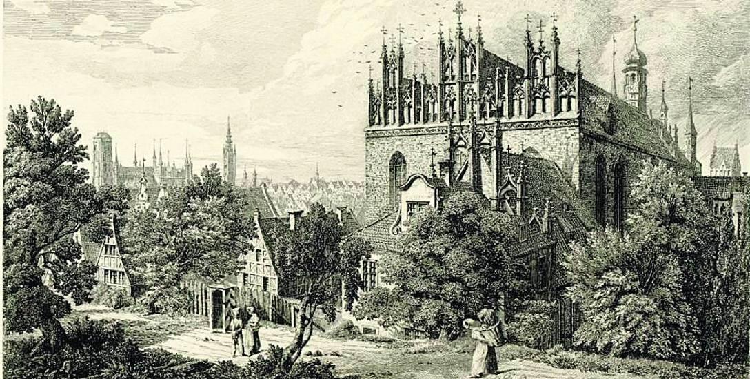 J. C.  Schultz, Kościół Św. Trójcy i kaplica św. Anny (bibuła naklejona na papier graficzny, akwaforta)