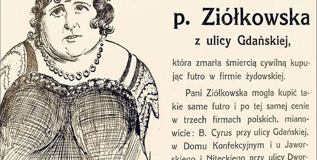 """W taki sposób cieszący się sporą popularnością, ukazujący się w Bydgoszczy """"Szabes-kurier"""" usiłował wymusić na bydgoszczanach bojkot żydowskich sklepów,"""