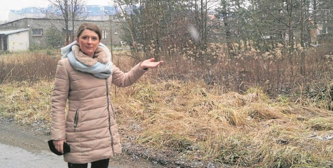 Emilia Kotnis-Górka z Urzędu Miasta i Gminy w Olkuszu  pokazuje, gdzie stanie nowy budynek z mieszkaniami socjalnymi. Będzie znajdował się przy ul. Witosa,