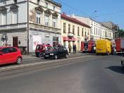 Pożar na Gdańskiej w Łodzi. Zapaliła się wystawa w zakładzie fotograficznym [ZDJĘCIA]