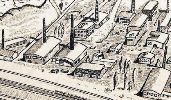 Taką rekonstrukcję rozlokowania budynków w obozie pracy przedstawia Krzysztof Czerwiński. Na pierwszymplanie widoczne są piece wapienne z charakterystycznymi