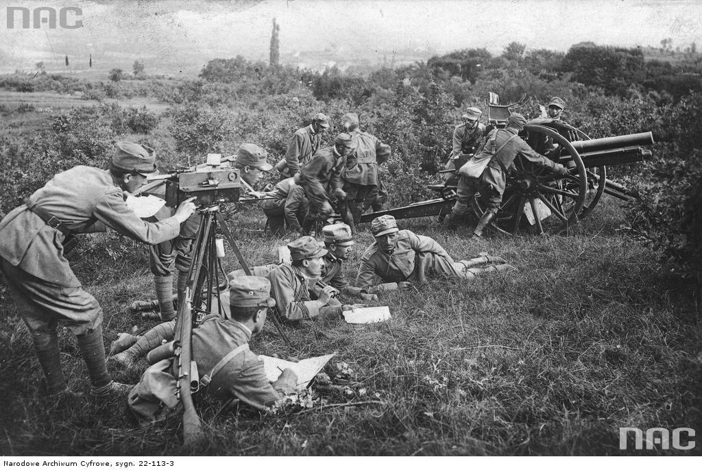 Żołnierze włoscy obliczają cele do ostrzału artyleryjskiego, 1914 a 1918.