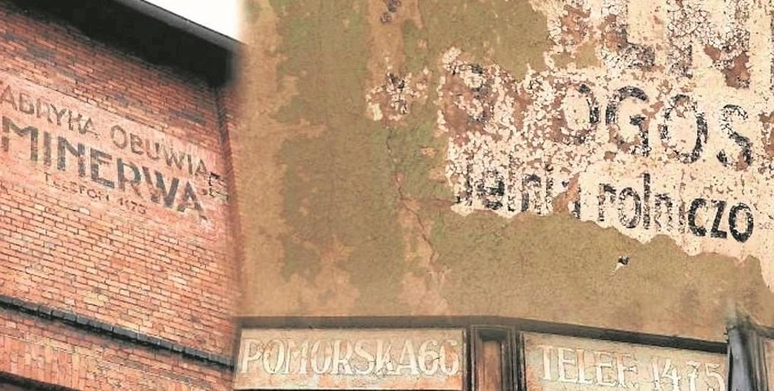 Dzięki tym starym, wymalowanym na murach kamienic reklamom możemy się dowiedzieć o miejscach, które już zniknęły z krajobrazu Bydgoszczy.