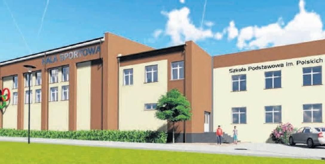 Tak ma wyglądać elewacja nowej hali sportowej przy Szkole Podstawowej w Kwakowie