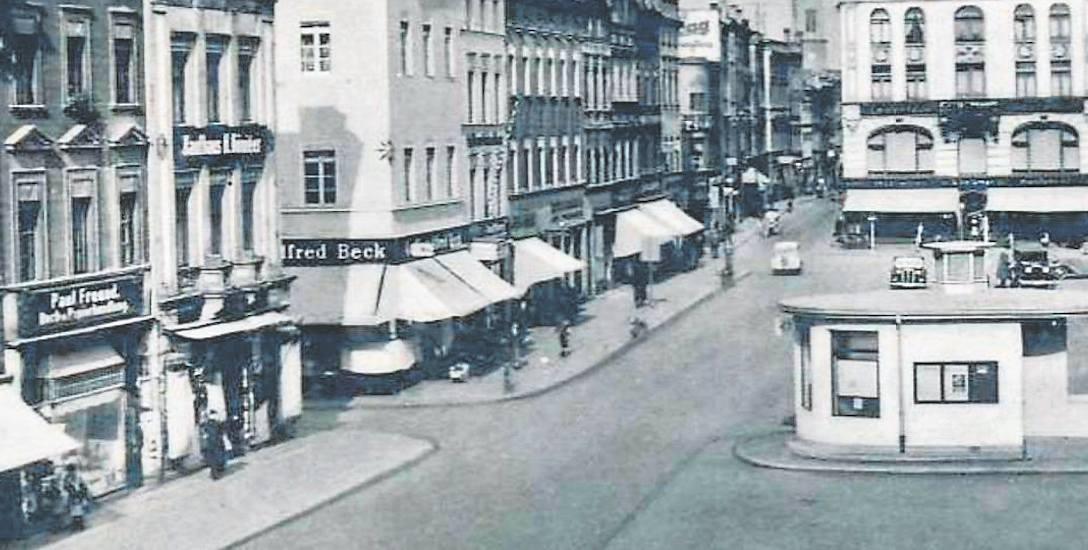 Rynek w Ząbkowicach Śląskich przed II wojną światową, kiedy jeszcze miasto nazywało się Frankenstein