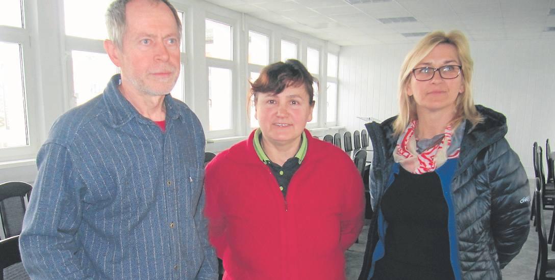 Od lewej: Mieczysław Waz, Edyta Jaroszewska-Nowak i Mariola Winiszewska, osoby będące w grupie inicjatorów referendum