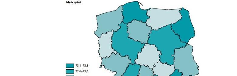 W naszym regionie mężczyźni żyją około 71,1 - 72 lata.