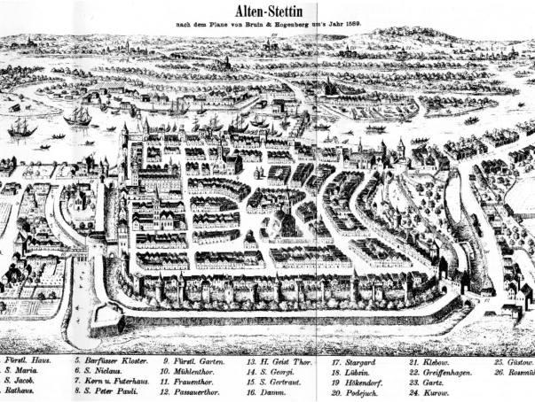 Można to prześledzić na podstawie zachowanych widoków i map.XVI-wieczny Szczecin według Brauna i Hogenberga. Na mapie są bramy miejskie, ogrody książęce