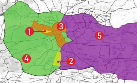 Opis i legenda do mapy1.  strefa Błonia (w granicach ulic:al. 3 Maja, Piastowska, Focha), 23 VII - 1 VIII2.  strefa Łagiewniki (Tischnera, Zakopiańska,