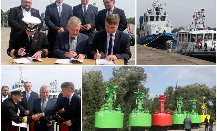 Podpisanie umowy między Urzędem Morskim, a firmą Calbud w Bazie Oznakowania Nawigacyjnego Urzędu Morskiego