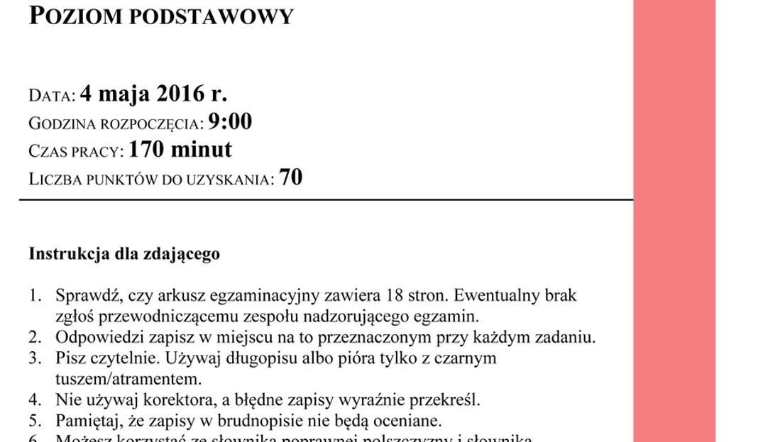 Matura 2016 Polski Arkusz Matura 2016 Polski Odpowiedzi