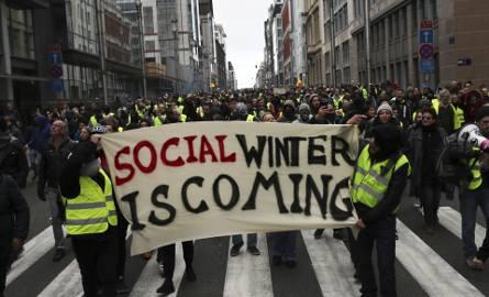 """Protest """"żółtych kamizelek"""" w Brukseli"""