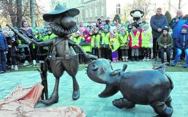 Postać Pampaliniego w towarzystwie hipopotama znalazła się nieopodal bielskiego Ratusza