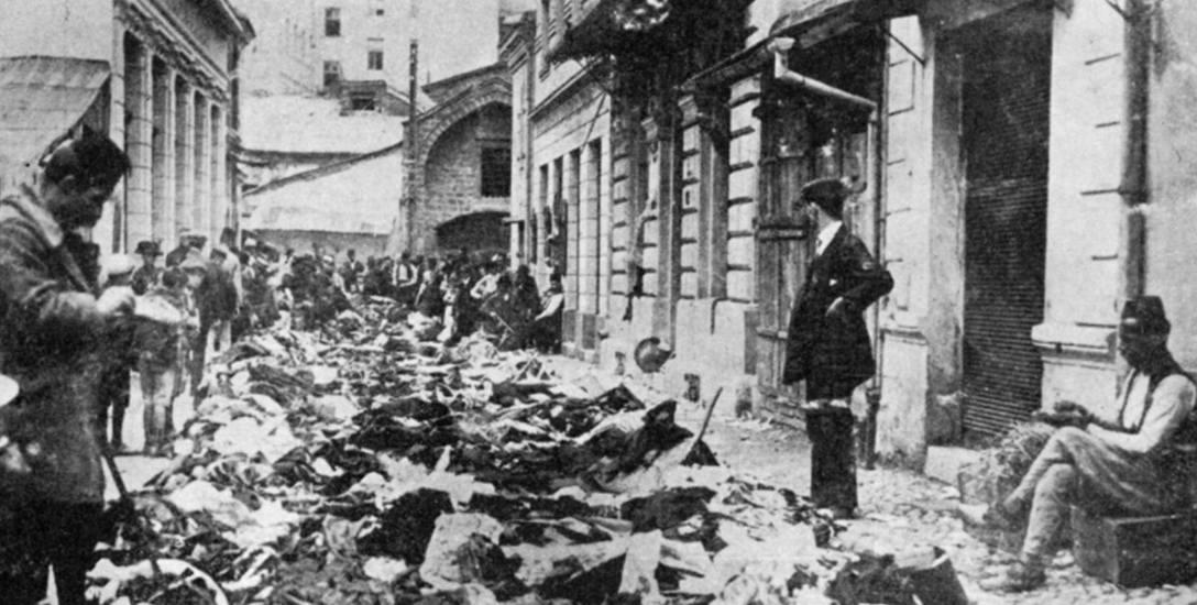 Ulica Sarajewa po pogromach antyserbskich na skutek zamachu na arcyksięcia Franciszka