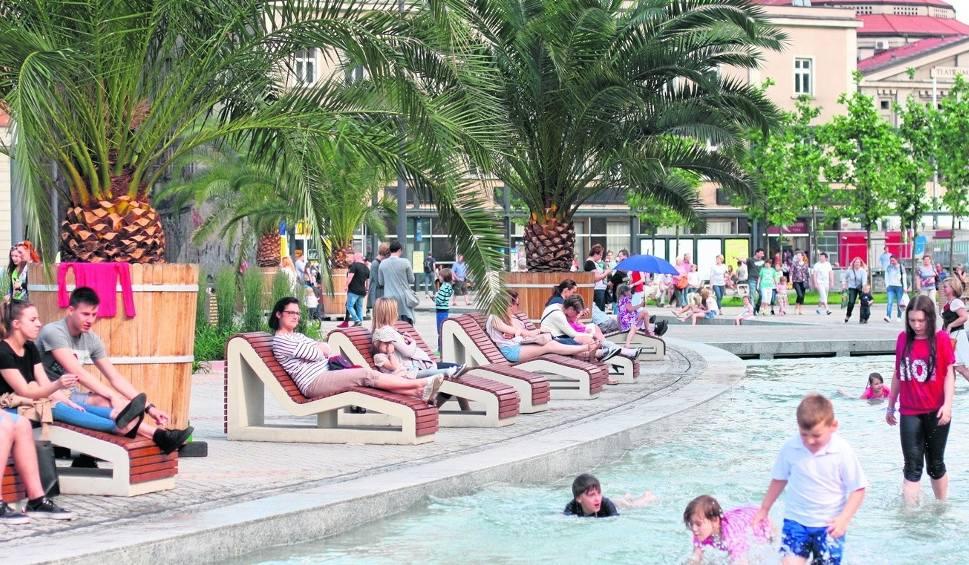 Film do artykułu: Uwaga! Nadchodzą upały! Temperatura do 35 st. C. Rawa i palmy w Katowicach dla ochłody