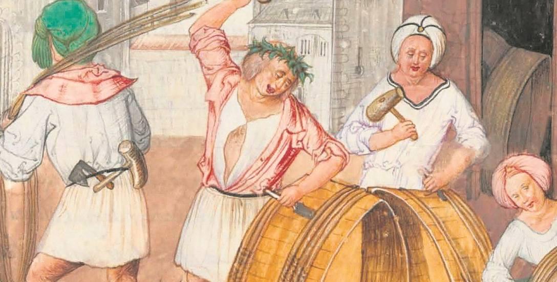 Bednarze robiący kadzie i beczki. Ilustracja z Kodeksu Behema