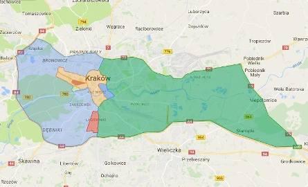 KOLOR CZERWONY - obszar zamknięty dla ruchuObszar Zamknięty Błonia Ulice graniczne obszaru: 3 Maja, Piastowska, Focha.UPRAWNIENI DO WJAZDU:- mieszkańcy