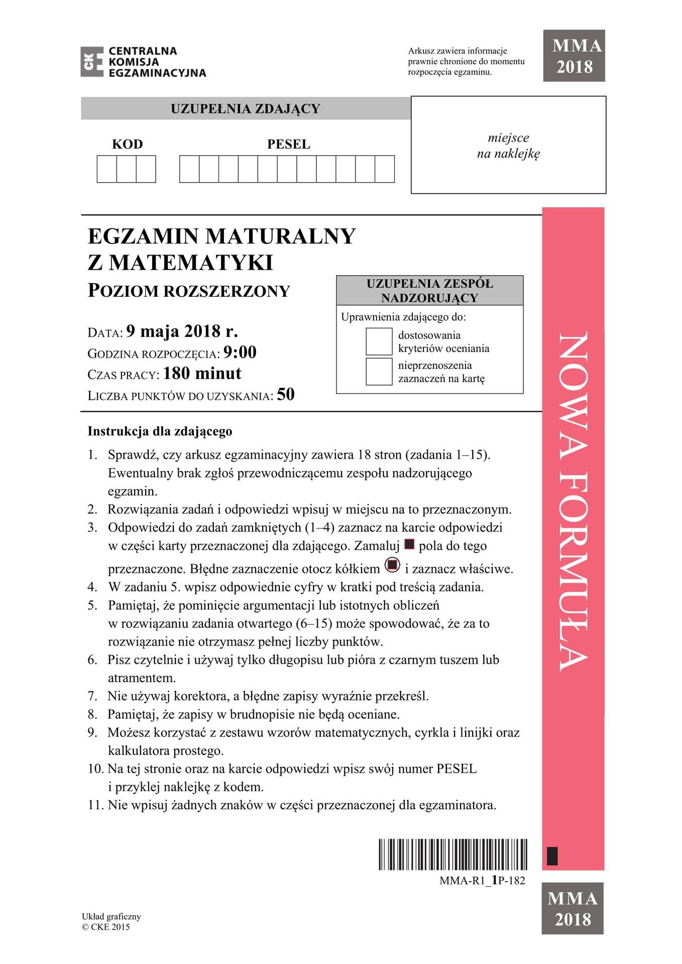 matura rozszerzona matematyka maj 2018 odpowiedzi