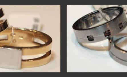 Żółte złoto z białymi diamentami, z szyną soczewkową (d – 1170 zł, m – 1814 zł) i białe złoto z kawowymi diamentami (d – 1501 zł, m – 1208 zł)