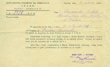 Pismo z Dowództwa Polskich Sił Zbrojnych w ZSRR z 8 marca 1942 r. Izabela Komornicka dowiedziała się, że jej mąż dotychczas nie zgłosił się do Armii