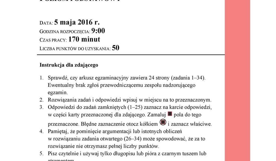 Film do artykułu: Matura 05.05.2016 Matematyka Rozwiązany arkusz CKE. Klucz odpowiedzi PDF