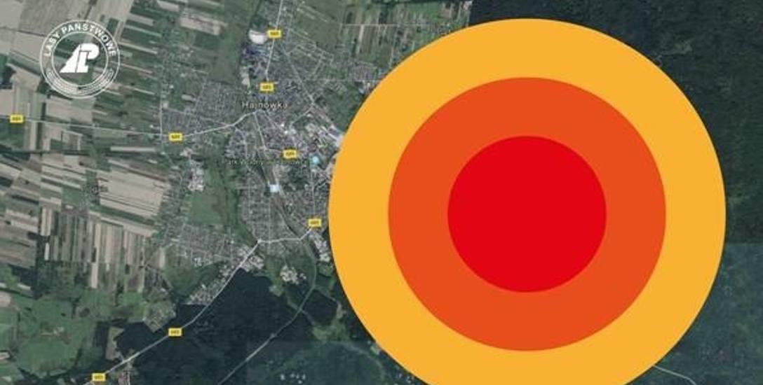 Puszcza Białowieska w okolicach Hajnówki - symulacja zasięgu potencjalnego pożaru. W wizualizacji wykorzystano mapy Google.